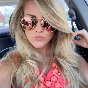 New Ray Ban Rose Gold Aviator Sunglasses